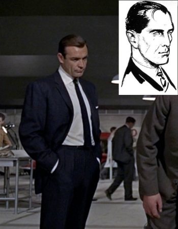 Sean Connery as James Bond in Goldfinger (1964), wearing the closest cinematic approximation of the suit imagined by Ian Fleming for his character. Inset is a drawing created by Fleming and commissioned for the Daily Express comic strip.