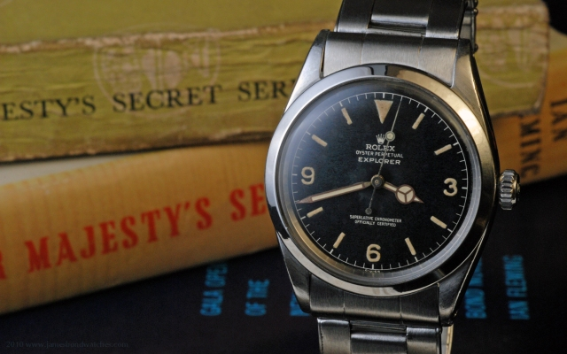 Dell Deaton's Rolex Explorer 1016 wristwatch with a metal bracelet, produced in 1960 IV and the likely watch that James Bond wore in On Her Majesty's Secret Service.