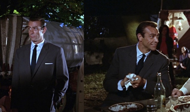 The mere prospect of eating takes Connery from looking dejected to wearing an ear-to-ear grin. Here he removes his pocket square handkerchief to wipe his hands before eating.