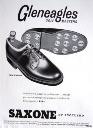 A 1950s-era ad for Saxone nailed golf shoes, likely the very pair preferred by James Bond for his outing with Goldfinger.