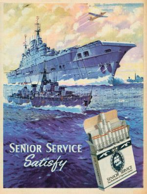 A Senior Service cigarette ad from 1955, showing the obvious military (specifically naval) association with the brand.