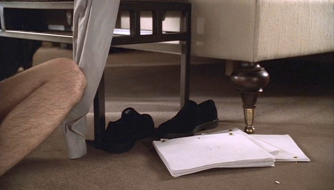 Christopher's shoes next to the Joey Gallo script after his tryst with Amy.