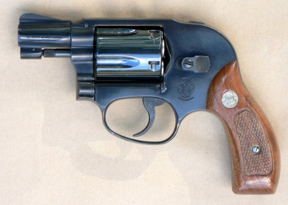 "An alloy-framed Smith & Wesson Model 38 ""Bodyguard"" revolver."