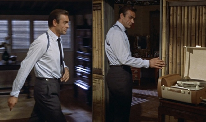 Bond walks around Miss Taro's bungalow as he makes his final arrangements to trap Professor Dent. His expression is best described as mischeviously smug. (Note that the turnback flap of his right cuff is slightly dog-eared.)