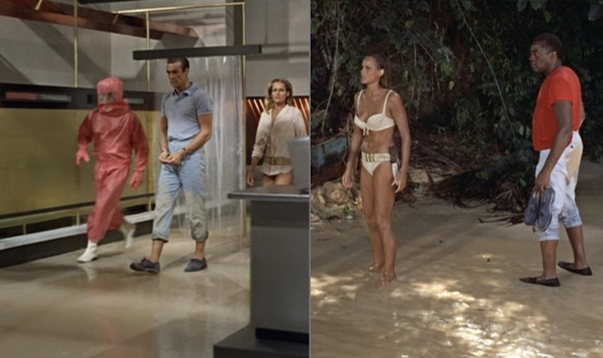 Bond only really wore his shoes while being taken into captivity by Dr. No's men (and a few scenes prior). Poor Quarrel had to carry them around the morning after their arrival.