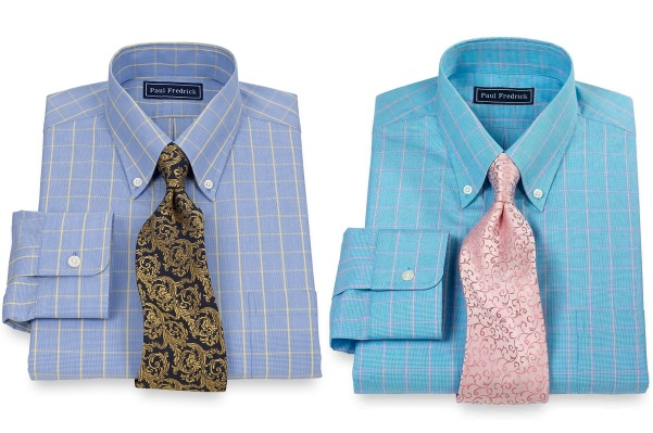 Paul Fredrick also offers some eye-grabbing casual shirts. If you're wearing a solid tan suit but still want Gatsby's windowpane incorporated somewhere in your wardrobe, consider a yellow or pink windowpane on your shirt.
