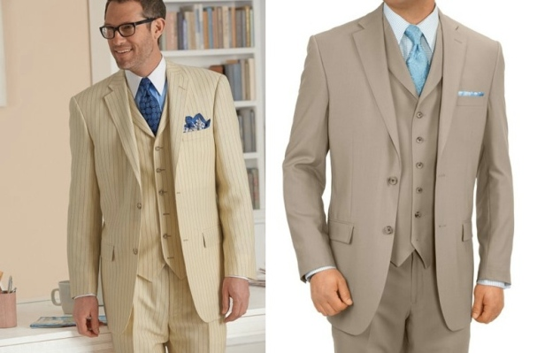 The striped suit would certainly get attention on a warm summer day, and the suit on the right would keep you fashionable throughout the year.