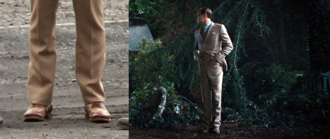 Gatsby's shoes are hard to identify on film. Luckily, some set photos from October 2011 make identification a little easier.