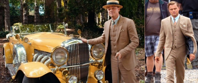A nice thing about a high profile flick like this one is that there is an abundance of set photos taken that help identify the wardrobe when it's not clearly seen on film. Here, we not only get more details about Gatsby's vest and the jacket lining, but we also get to see a crew member's decidedly non-'20s attire behind him.