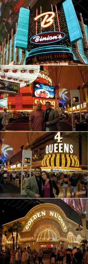 Photos from the Fremont Street Experience taken by yours truly in summer 2010. My dad and I are standing in front of the Fremont, and my sister and I are standing across the street from the Four Queens.