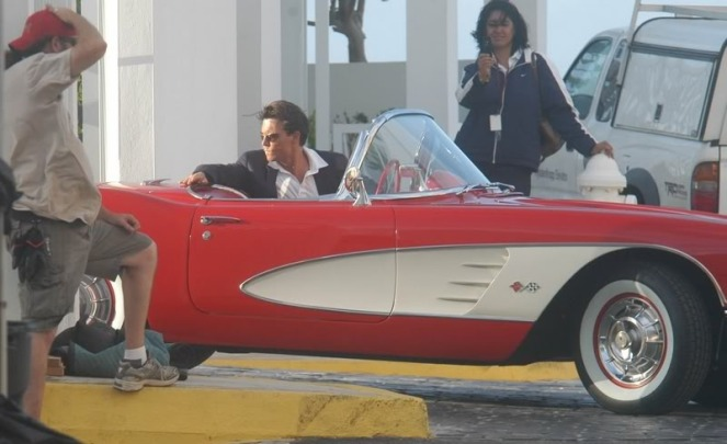 Depp behind-the-scenes in the '59 Corvette that would eventually become his in real life.