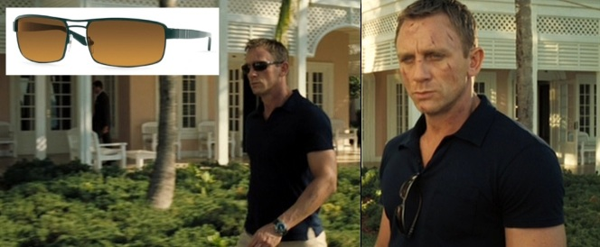 When not wearing them, Bond hangs his Persols from the front of his shirt. Although some may argue that using the shirt's breast pocket may be more practical, it is very unflattering (which totally defeats the purpose of wearing designer sunglasses in the first place).