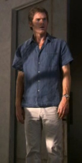 "Michael C. Hall as Dexter Morgan on Dexter's episode 2.04, ""See-Through""."