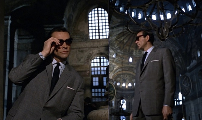 It's interesting that the first time we see Bond wearing sunglasses, he is in the last place in the world where you'd expect to see someone wearing them.