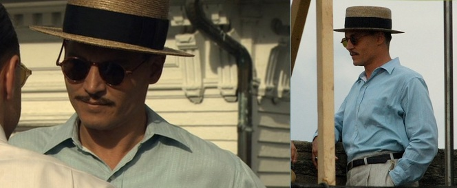 Dillinger meets with Alvin Karpis both in the finished film (left) and behind the scenes (right). Karpis was a fascinating outlaw - depicted throughout the book Public Enemies - whose career is certainly deserving of a film of its own.