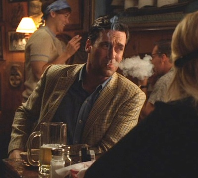 "Jon Hamm as Don Draper, drowning his sorrows in badassery in ""The Good News"" (Mad Men, Ep. 4.03)."