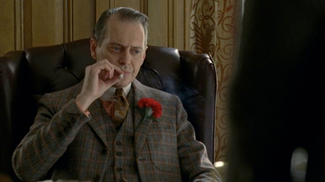 Already distinctive by its unique pattern, Nucky's suit is further set apart from the rest by the jacket details.