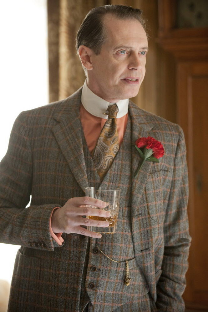 Nucky Thompson's Brown and Pink Check Suit | BAMF Style