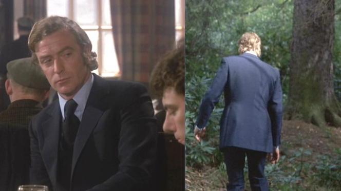 Carter's blue suit puts him perfectly at home in a pub, although he sticks out a bit when tramping through the woods.