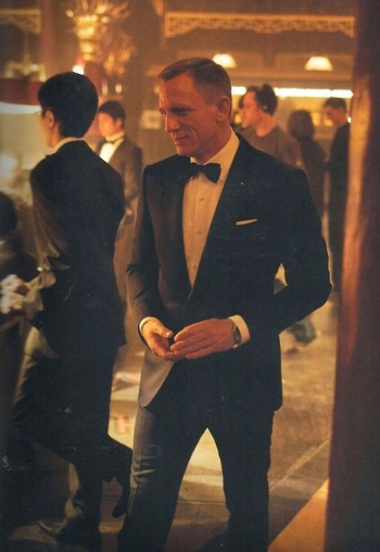 Daniel Craig on the Floating Dragon Casino set.
