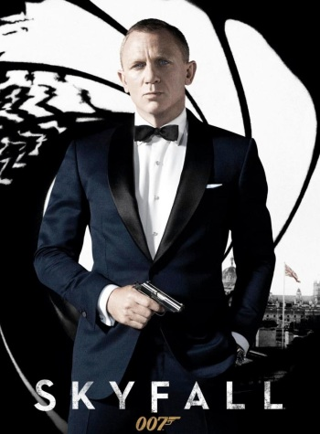 "Excerpt from a promotional poster for Skyfall (2012), featuring Daniel Craig as James Bond against the familiar ""gunbarrel"" backdrop."