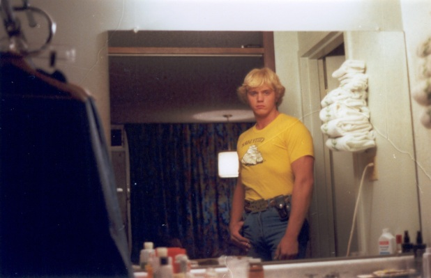 Schneider at the Holiday Inn the night before filming started in 1978. Other than the Cutty Sark t-shirt, he's in full Bo Duke regalia.