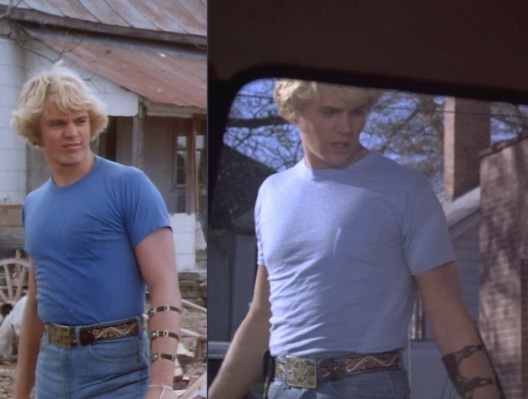 "Bo's blue undershirt was much more vivid in ""Daisy's Song"" (Episode 1.02, left) before switching to the paler blue shirt seen in all following episodes including ""Repo Men"" (Episode 1.04, right)."
