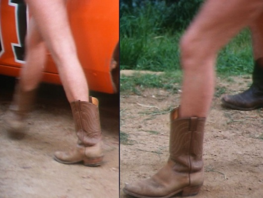"Bo's boots after he and Luke are left clothesless by two larceny-minded girlfriends in ""Deputy Dukes"" (Episode 1.10)."