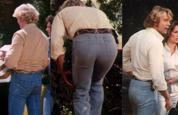 "These awkward ass shots both show the progression of Bo's jeans through the first, third, and fourth seasons as well as potential manufacturer's marks. While Luke preferred plainer jeans, Bo's were a little more unique. Note the red Levi's tag in ""Money to Burn"" (Episode 1.11, left), the distinctive ""X"" belt loop in ""Mrs. Rosco P. Coltrane"" (Episode 3.08, center), and the rear pocket stitching in ""Miss Tri-Counties"" (Episode 4.24, right)."