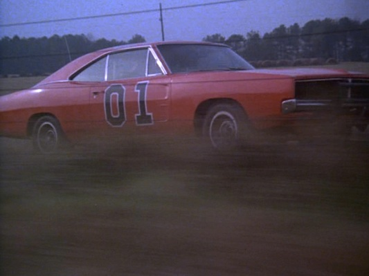"A rare sight from ""Repo Men"" (Episode 1.04) shows the General Lee with its windows closed as Bo and Luke try to beat their previous drag times."