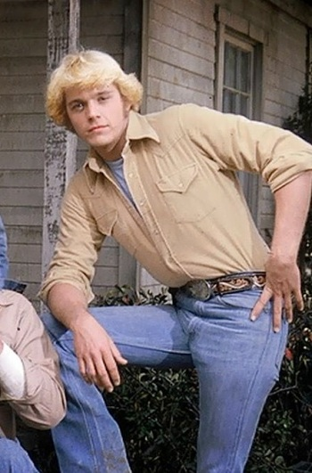 John Schneider as Bo Duke on the set of The Dukes of Hazzard (1979-1985).