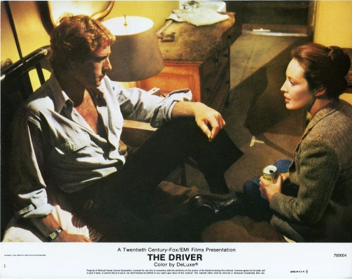 This promotional lobby card for The Driver presents the best image of the shirt, which remains covered by the jacket through the entire finished film.