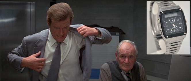 Eagle-eyed viewers can spot Bond's watch as he puts his jacket back on, and- HOLY SHIT WHY IS DESMOND LLEWELYN STARING STRAIGHT INTO MY SOUL?