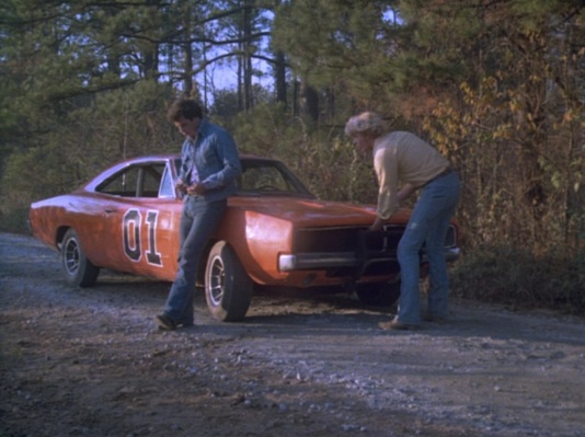 "Tom Wopat, John Schneider, and the General Lee soak in the northern Georgia atmosphere in ""Repo Men"" (Episode 1.04)."