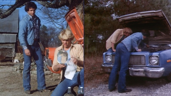 "For guys who find themselves running away from trouble so frequently, you'd think Luke and Bo would opt for jeans that weren't as... constricting. (Screenshots from ""High Octane"", Episode 1.05, and ""Mary Kaye's Baby"", Episode 1.03.)"