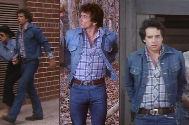 "Luke's various experiments with denim matching in the first season. The dark Levi's jacket with pointed pocket flaps was only worn in the pilot episode (left). The lighter jacket with pointed pocket flaps was worn through the remaining Georgia episodes and first three California episodes (center, from ""High Octane"", Episode 1.05). The final four California episodes featured Luke again wearing a darker denim jacket, this time with non-pointed pocket flaps (from ""Route 7-11"", Episode 1.12)."