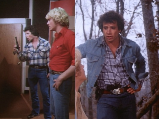 "Luke plays fast and loose with the ""no guns"" term of their probation. Left: Luke handles one of Jojo's Smith & Wesson Model 29 revolvers in ""Daisy's Song"" (Episode 1.02). Right: Luke tucks Roxanne's Star Model BM into his waistband in ""High Octane"" (Episode 1.05)."