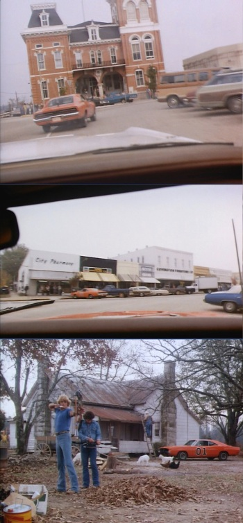 "Three recognizable locations from the Georgia episodes. Top: The old Newton County Courthouse in Covington Town Square, as seen from Rosco's patrol car. Middle: More Covington Town Square, seen from behind the wheel of the General Lee. Note that another General Lee is parked in front of a store. Either the Duke boys had an admirer or the production team left a car in the wrong spot! Both this photo and above photo are from ""One-Armed Bandits"" (Episode 1.01). Bottom: Luke and Bo practice with their arrows in front of the now-demolished Duke farmhouse in ""Daisy's Song"" (Episode 1.02)."