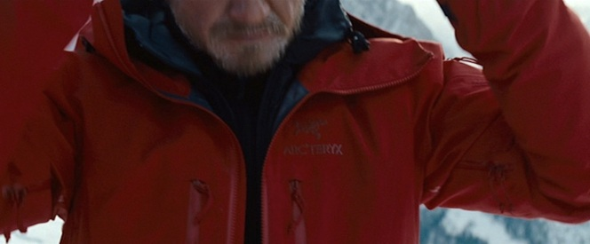 The Arc'teryx logo, plainly visible on Cross' left chest.