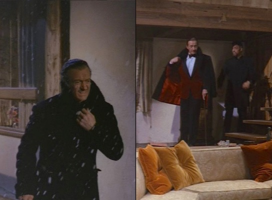 Sir Charles battles the bitter cold (left) and enjoys the comforts of a royal chalet (right).