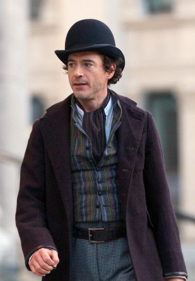 Robert Downey, Jr. on set as Sherlock Holmes in Sherlock Holmes (2009).