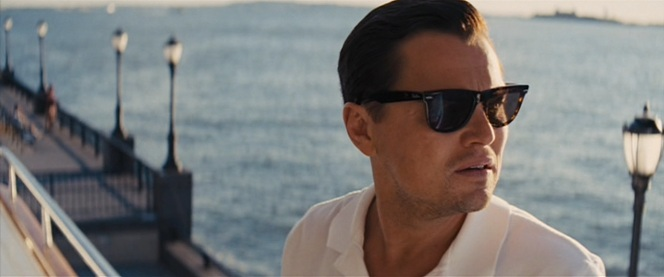 Like all materialistic rich guys in the '80s and '90s, Jordan proudly sports a pair of genuine Ray-Ban Wayfarers.
