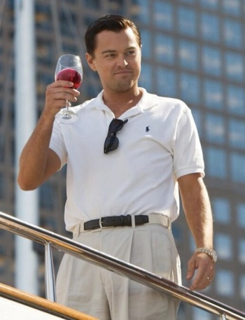 Leonardo DiCaprio as Jordan Belfort in The Wolf of Wall Street (2013). DiCaprio himself even uses this image for his Twitter avatar.