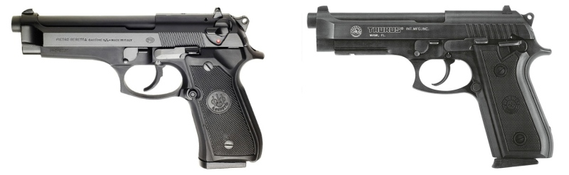 A Beretta 92FS (left) and a Taurus PT92 (right). Besides some cosmetic differences such as slide markings and magazine butts, note the difference in external safeties.