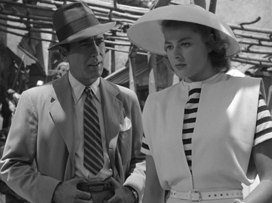 Bogart goes from a scene with Sydney Greenstreet to one with Ingrid Bergman. Marked improvement.
