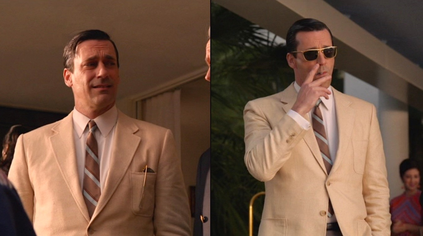 Don Draper Smokes Hashish in a Cream Silk Sportcoat