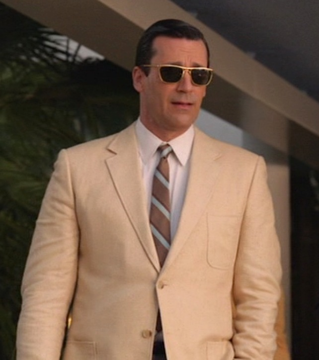8be230c757 Don Draper Smokes Hashish in a Cream Silk Sportcoat. Jon Hamm as Don Draper  in
