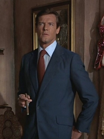 Roger Moore as James Bond in The Man with the Golden Gun (1974).