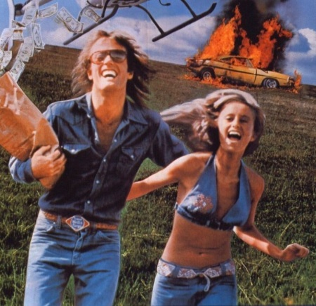 Peter Fonda and Susan George on the poster for <em>Dirty Mary, Crazy Larry</em> (1974) as their '69 Charger blazes away in the background. People who have actually seen the film know how misleading this poster is, and that's all I'll say.