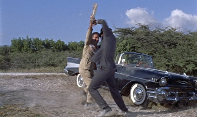 Bond and Mr. Jones argue over who called shotgun first.